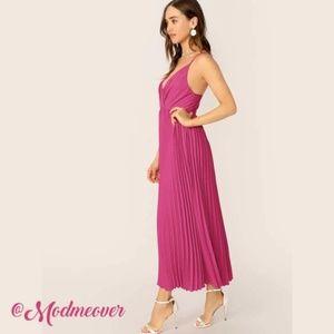 ⭐HP⭐ NEW Rose Pleated Maxi Slip Dress